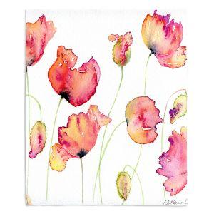 Decorative Fleece Throw Blankets | Amanda Hawkins - Vibrant Poppies | Floral Flowers