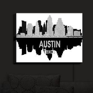 Nightlight Sconce Canvas Light | Angelina Vick - City IV Austin Texas | City Skyline Mirror Image