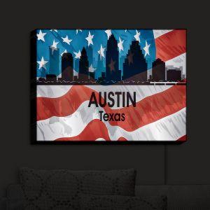 Nightlight Sconce Canvas Light | Angelina Vick - City VI Austin Texas | City Skyline American Flag Stars and Stripes