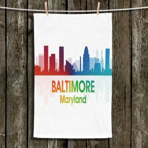 Unique Hanging Tea Towels | Angelina Vick - City I Baltimore Maryland | Skyline Downtown Baltimore Colorful