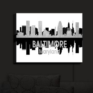 Nightlight Sconce Canvas Light | Angelina Vick - City IV Baltimore Maryland | City Skyline Mirror Image