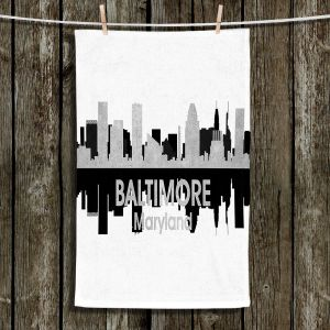 Unique Hanging Tea Towels | Angelina Vick - City IV Baltimore Maryland | City Skyline Mirror Image