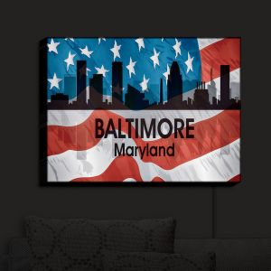 Nightlight Sconce Canvas Light | Angelina Vick - City VI Baltimore Maryland | City Skyline American Flag Stars and Stripes
