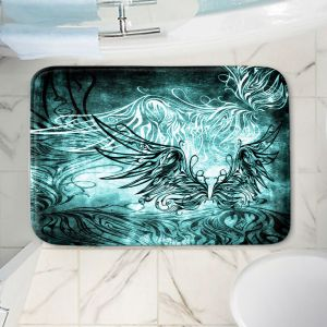 Decorative Bathroom Mats | Angelina Vick - Bird Gothic Aqua | goth angel wings bird dark
