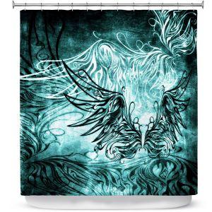 Premium Shower Curtains | Angelina Vick - Bird Gothic Aqua | goth angel wings bird dark