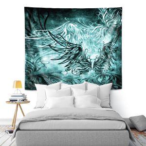 Artistic Wall Tapestry | Angelina Vick - Bird Gothic Aqua | goth angel wings bird dark