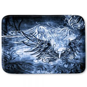 Decorative Bathroom Mats | Angelina Vick - Bird Gothic Blue | goth angel wings bird dark