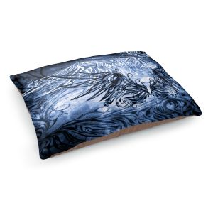 Decorative Dog Pet Beds | Angelina Vick - Bird Gothic Blue | goth angel wings bird dark