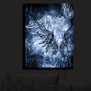 Nightlight Sconce Canvas Light | Angelina Vick - Bird Gothic Blue