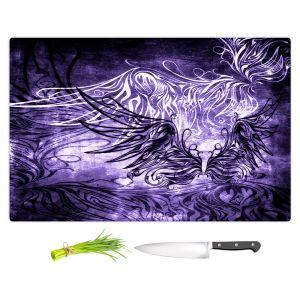 Artistic Kitchen Bar Cutting Boards | Angelina Vick - Bird Gothic Grape | goth angel wings bird dark