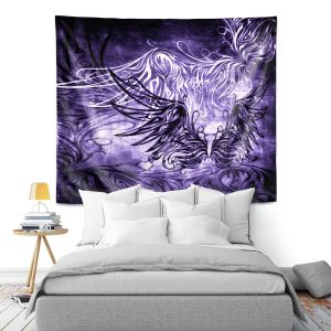 Artistic Wall Tapestry | Angelina Vick - Bird Gothic Grape | goth angel wings bird dark