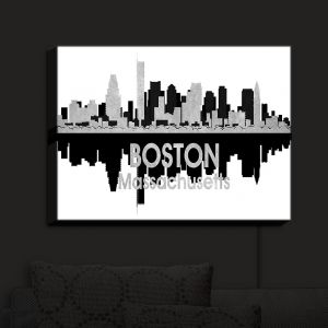 Nightlight Sconce Canvas Light | Angelina Vick - City IV Boston Massachusetts | City Skyline Mirror Image