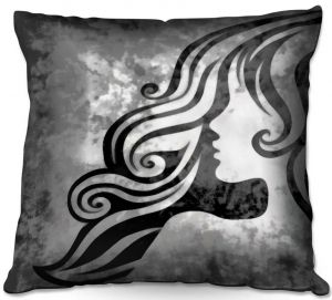 Decorative Outdoor Patio Pillow Cushion | Angelina Vick - BTW I Loved You 2 | romance profile face silhouette