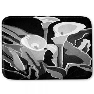 Decorative Bathroom Mats | Angelina Vick - Calla Lilies Black White | abstract flower nature still life