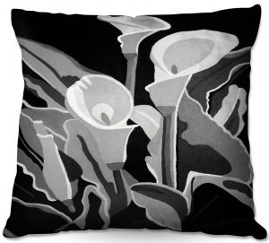Throw Pillows Decorative Artistic   Angelina Vick - Calla Lilies Black White   abstract flower nature still life