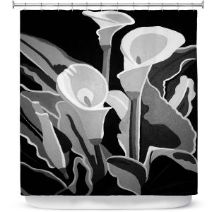 Premium Shower Curtains | Angelina Vick - Calla Lilies Black White | abstract flower nature still life
