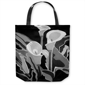 Unique Shoulder Bag Tote Bags | Angelina Vick - Calla Lilies Black White | abstract flower nature still life