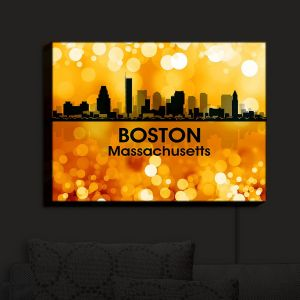 Nightlight Sconce Canvas Light | Angelina Vick - City III Boston Massachusetts | Skyline Downtown