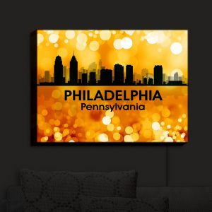 Nightlight Sconce Canvas Light | Angelina Vick - City III Philadelphia Pennsylvania | Skyline Downtown