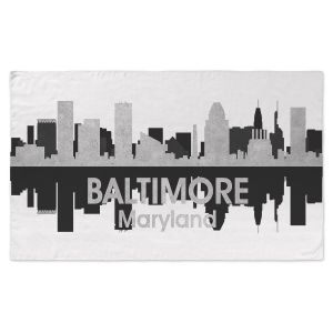 Artistic Pashmina Scarf | Angelina Vick - City IV Baltimore Maryland | City Skyline Mirror Image