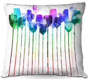 Throw Pillows Decorative Artistic | Angelina Vick - Cocktail Hour 2 Blue Green | Drinks wine glass simple