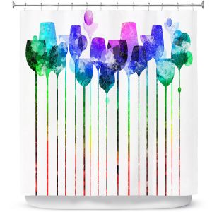 Premium Shower Curtains | Angelina Vick - Cocktail Hour 2 Blue Green | Drinks wine glass simple