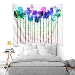 Artistic Wall Tapestry | Angelina Vick - Cocktail Hour 2 Blue Green | Drinks wine glass simple