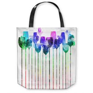 Unique Shoulder Bag Tote Bags | Angelina Vick - Cocktail Hour 2 Blue Green | Drinks wine glass simple