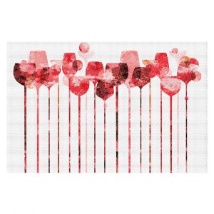 Decorative Floor Covering Mats | Angelina Vick - Cocktail Hour 3 Red | Drinks wine glass simple