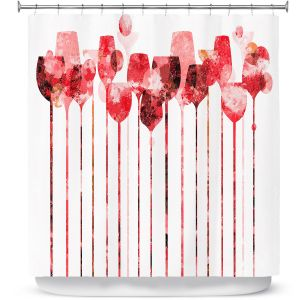 Premium Shower Curtains | Angelina Vick - Cocktail Hour 3 Red | Drinks wine glass simple