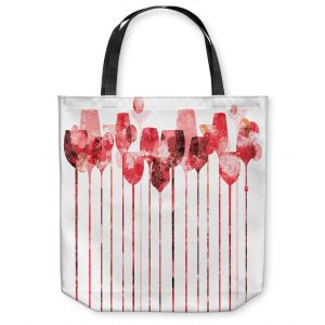 Unique Shoulder Bag Tote Bags | Angelina Vick - Cocktail Hour 3 Red | Drinks wine glass simple
