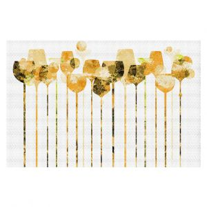 Decorative Floor Covering Mats | Angelina Vick - Cocktail Hour 4 Gold | Drinks wine glass simple