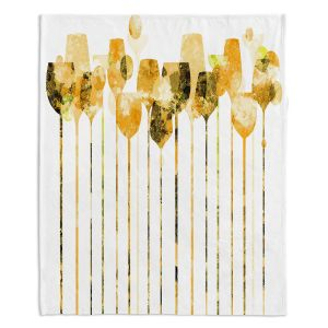 Decorative Fleece Throw Blankets | Angelina Vick - Cocktail Hour 4 Gold | Drinks wine glass simple