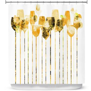 Premium Shower Curtains | Angelina Vick - Cocktail Hour 4 Gold | Drinks wine glass simple