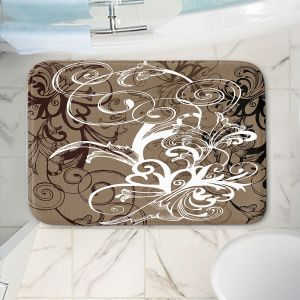 Decorative Bathroom Mats | Angelina Vick - Coffee Flowers 1 Tan | abstract flower nature pattern