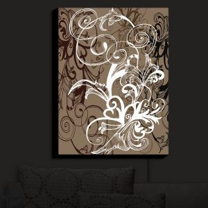 Nightlight Sconce Canvas Light | Angelina Vick - Coffee Flowers 1 Tan