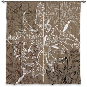 Decorative Window Treatments | Angelina Vick - Coffee Flowers 11 Tan | abstract flower nature pattern