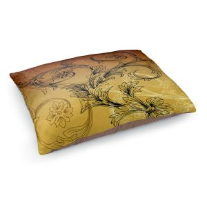 Decorative Dog Pet Beds | Angelina Vick - Coffee Flowers 3 Calypso | abstract flower nature pattern