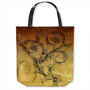 Unique Shoulder Bag Tote Bags | Angelina Vick - Coffee Flowers 3 Calypso | abstract flower nature pattern