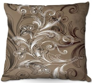 Throw Pillows Decorative Artistic | Angelina Vick - Coffee Flowers 4 Tan | abstract flower nature pattern