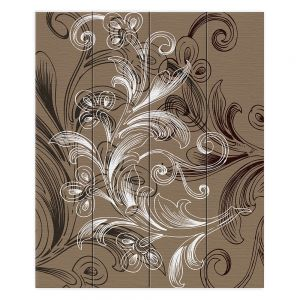 Decorative Wood Plank Wall Art | Angelina Vick - Coffee Flowers 4 Tan | abstract flower nature pattern