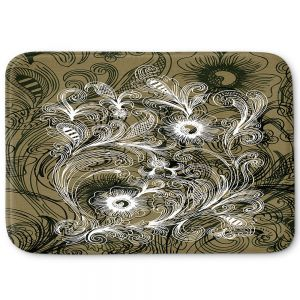 Decorative Bathroom Mats | Angelina Vick - Coffee Flowers 6 Olive | abstract flower nature pattern