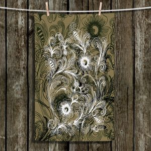 Unique Hanging Tea Towels | Angelina Vick - Coffee Flowers 6 Olive | abstract flower nature pattern