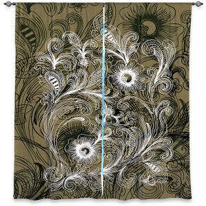 Decorative Window Treatments | Angelina Vick - Coffee Flowers 6 Olive | abstract flower nature pattern