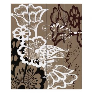 Decorative Wood Plank Wall Art | Angelina Vick - Coffee Flowers 9 Tan | abstract flower nature pattern