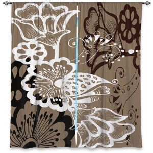 Decorative Window Treatments | Angelina Vick - Coffee Flowers 9 Tan | abstract flower nature pattern