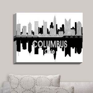 Decorative Canvas Wall Art | Angelina Vick - City IV Columbus Ohio | City Skyline Mirror Image