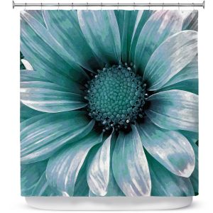 Premium Shower Curtains | Angelina Vick - Daisy Mint Green | Flower close up