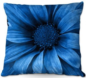 Unique Outdoor Pillow 18X18 from DiaNoche Designs by Angelina Vick - Daisy Pure Blue