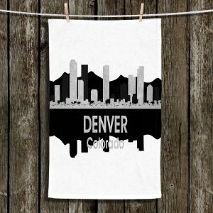Unique Hanging Tea Towels | Angelina Vick - City IV Denver Colorado | City Skyline Mirror Image
